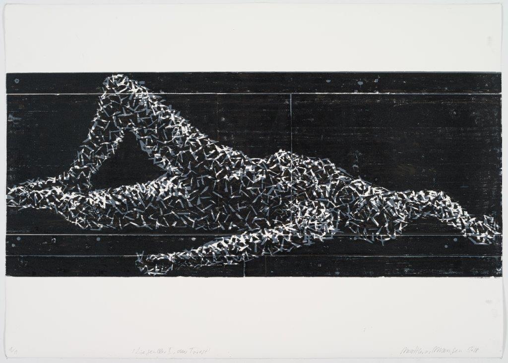 Liegender I, aus Triest, 2018, Farbholzschnitt, 100x140 cm, Unikat