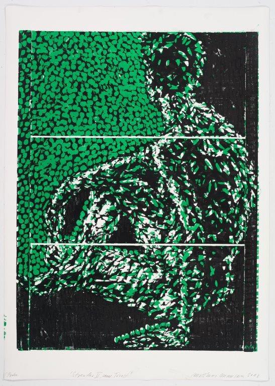 Sitzender II, aus Triest, 2018, Farbholzschnitt, 140x100 cm, Probedruck