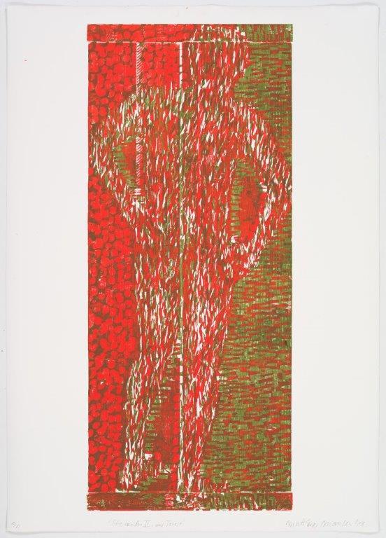 Stehender II, aus Triest, 2018, Farbholzschnitt, 140x100 cm, Unikat