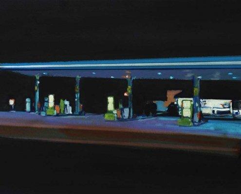 BENJAMIN NACHTWEY, Französische Nachttankstelle, 2015, 60 x 90 cm, Öl, Leinwand