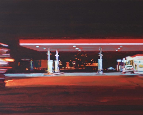 BENJAMIN NACHTWEY, Rote Nachttankstelle, 2012, 110 x 180 cm, Acryl, Öl, Leinwand